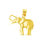 polish 14k yellow gold elephant charm for charm bracelet