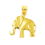 14k yellow gold polished elephant charm for charm bracelet