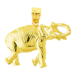 14k yellow gold textured elephant pendant