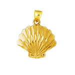 14k gold scallop seashell charm