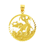 14k yellow gold encircled elephant charm