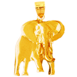 polish finish elephant pendant in 14 karat yellow gold