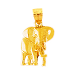 polish finish elephant charm in 14k yellow gold