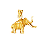 14k yellow gold 3d elephant with long tusks charm