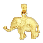 14k yellow gold elephant with long trunk charm