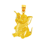 14k yellow gold sitting elephant charm