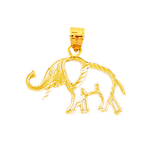 14k yellow gold cutout elephant charm