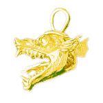14k gold 3d dragon head pendant