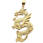 14k gold serpent dragon pendant