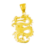 14k gold 3d serpent dragon pendant