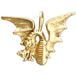 14k gold winged dragon pendant