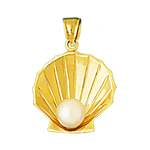14k gold scallop seashell with pearl accent pendant