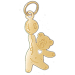14k gold teddy bear with balloon charm
