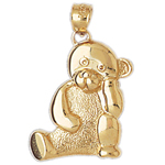 14k gold thinking teddy bear pendant