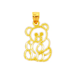 14k gold outlined teddy bear charm