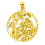 14k gold encircled panda medallion