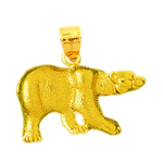 14k gold black bear pendant