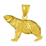 14k gold hunting bear pendant
