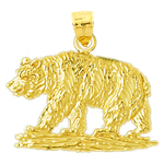 14k gold kodiak brown bear pendant