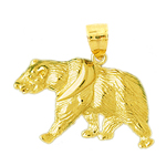 14k gold walking bear pendant
