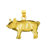 14k yellow gold pig charm charm