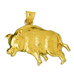 14k yellow gold boar pendant