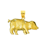 14kt yellow gold pig charm