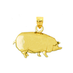 14k yellow gold polish finish pot bellied pig charm