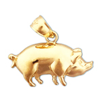 14kt gold pot bellied pig charm