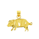 14kt yellow gold 3d pig charm