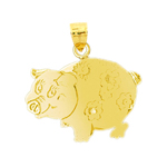 14k yellow gold silhouette pig charm
