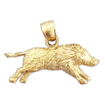 14k yellow gold boar charm