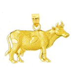 14k gold dairy cow pendant