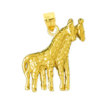 14k gold two giraffes pendant