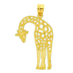 14kt gold cut-out giraffe pendant