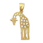 14k gold cut-out giraffe charm pendant