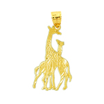 14kt gold two giraffes pendant
