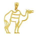14k gold cut-out camel pendant