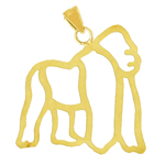 14k gold cut-out gorilla pendant