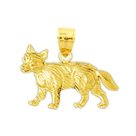 14k gold fox pendant