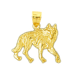 14k yellow gold coyote charm