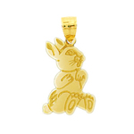 14k gold silhouette rabbit charm