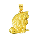 14kt yellow gold raccoon pendant