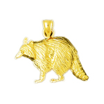 14k yellow gold raccoon charm