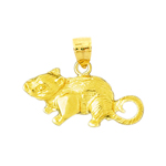 14k yellow gold wooden mouse charm