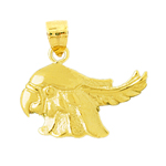 14k gold cockatoo head pendant