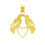 14k gold love birds with heart charm