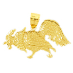 14k gold pecking rooster pendant