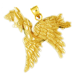 14k gold flying pelican with fish pendant