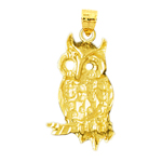 14kt gold perched owl charm